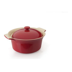 "Berghoff - Berghoff Geminis Round Covered Baking Dish 12"" x 10"" x 6.25"" - The Geminis bakeware collection is not only pleasing to look at but durable enough for every day use. Made from high quality stoneware with a cozy red color this bakeware can go right from oven to the table. Handles provide a comfortable thumb grip for securely and safely moving dishes from the oven to the table or countertop."