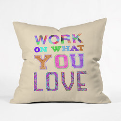 Creative Inspiration Throw Pillow Cover - Often we lose our inspiration staring out the window on those gorgeous summer days, longing to be outside and away from the obligations of indoor and virtual duties. That's why we love this Creative Inspiration Throw Pillow Cover--a lively, colorful, joyous reminder to your inner self that not only is it important to work on what you love, but to have love for what you're working on. This isn't a large poster or a plaque for your wall, or self-help book to sit dauntingly on your shelf unread, but a pop of gorgeous and custom woven decor that is subtle, stylish, and full of promise.