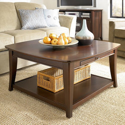 """Hammary - Enclave Square Cocktail Table in Sable Finish - """"Find your place. Find your niche. Find your enclave, with Hammary's appealing new """"""""Enclave"""""""" collection."""