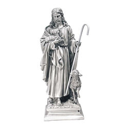 """EttansPalace - 28"""" Jesus Christ Christian Catholic Home Garden Statue Sculpture Figurine - Jesus Christ lovingly herds his flock in this amazingly detailed religious sculpture by artist Bronti. From the folds of his garment to the downy sheep cradled in his arm, the Good Shepherd is depicted in quality designer resin with a rich, antique stone finish."""