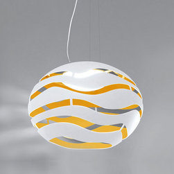 Lightology Collection - Tree S Suspension - Tree S Suspension features an outside metal shade in Textured White Lacquer or Textured Black Lacquer with Gold inside.  Requires two 100 watt R7s halogen lamps not included.  29.5 inch diameter x 20 inches high x 78.7 inch maximum overall height.  cUL listed.