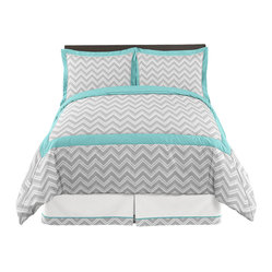 Sweet Jojo Designs - Zig Zag Turquoise and Gray 3-Piece Queen Bedding Set by Sweet Jojo Designs - The Zig Zag Turquoise and Gray 3-Piece Queen Bedding Set by Sweet Jojo Designs, along with the  bedding accessories.