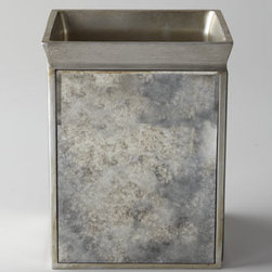 """Kassatex - Kassatex Palazzo Vintage Wastebasket - Antiqued mirrored vanity accessories combine beauty and functionality. Made of resin. Imported. Pump dispenser, 3""""Sq. x 8""""T. Tumbler, 2.75""""Sq. x 4""""T. Toothbrush holder, 2.75""""Sq. x 4""""T. Tray, 12""""L x 6""""W. Wastebasket, 7""""Sq. x 9""""T. Tissue box, 6""""Sq....."""