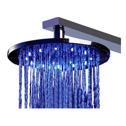 ALFI brand - ALFI brand LED5007 12' Round LED Rain Bathroom Shower Head in Chrome - Turn on the fun in your shower just by turning on the water, the LED lights will automatically light up and set the mood. They will even change colors automatically based on the water temperature. All this with no batteries, everything is self-powered by a built in dynamo that takes advantage of the water pressure to create the energy to light the bulbs.