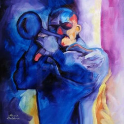 WL - Blue Jazz Horn Musician Playing Trumpet Portrait Wall Art Painting - This gorgeous Blue Jazz Horn Musician Playing Trumpet Portrait Wall Art Painting has the finest details and highest quality you will find anywhere! Blue Jazz Horn Musician Playing Trumpet Portrait Wall Art Painting is truly remarkable.