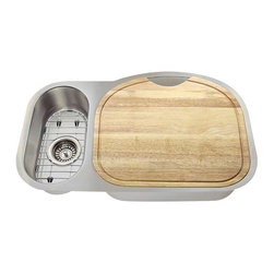 Polaris Sinks - Polaris PR925 18 Gauge Kitchen Ensemble - Polaris PR925 18 Gauge Ensemble (6 Items: Sink, 2 Standard Strainers, 2 Sink Grids, Cutting Board
