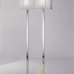 Clavius Floor Lamp - Clavius floor lamp features a chrome plated frame and hand made silk thread lamp shade. White or tobacco shade with incandescent lamping.