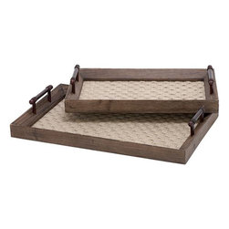 Home Decorators Collection - Melanie Fabric Trays - Set of 2 - Crafted of fir, our Melanie Fabric Trays feature a dark maple finish and are lined with woven jute. These decorative trays come as a set of two graduated sizes. Each tray includes side handles for carrying. The rich finish of the wood and the texture of the jute will offset other display items. Set of two. Dark maple finish. Woven jute lining. Handles for carrying.