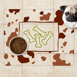Sniff It Out Pet Food Mats - Dog Bones Pet Food Mat, Large - Premium-quality clear vinyl mats uniquely designed to resemble beautiful art painted directly onto your floor. The smoothness of the vinyl allows for easy cleanup and lays perfectly flat. Sniff It Out Pet Mats make great gifts and will be a conversation piece that your friends and family won't stop talking about. Made in the USA.