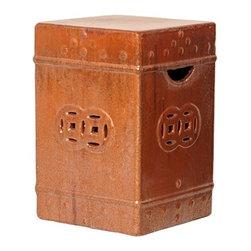 Emissary - Orange Ceramic Garden Stool - This ceramic garden stool has a beautiful hand-finished cinnibar glaze.��_