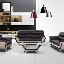 3035C Modern Dark Brown and Grey Sofa Set - Eco-Leather/Leather Match