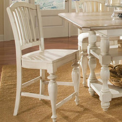 Riverside Furniture - Counter Height Wood Chair - Set of 2 - Set of 2. Wood seat. Seat height: 22 3/4 in.. Constructed of Alder hardwood solid. Finish: Dover White. Distress Level: Heavy. Assembly Required. 22.75 in. W x 19.75 in. D x 43 in. H ( 19 lbs. )