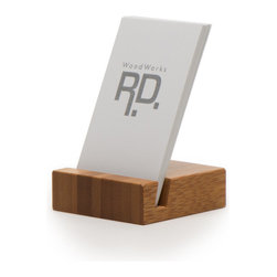 """WoodWorks RD - Vertical Business Card Holder - A simple yet modern solution for vertical business cards. This card holder will hold 25-30 standard (2"""" x 3 1/2"""") vertical business cards. This may vary, however, upon the thickness of the stock being used. The slot is cut deeper to allow more grip of the cards and easy access. It is sleek and will make an elegant piece in your office and/or desk reception."""