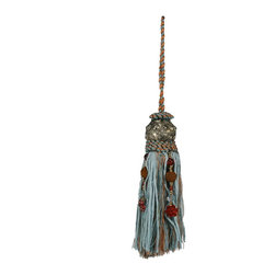 "Brandi Renee Design - 12"" Rayon Tassel with Beaded Accents Aqua - Our modern handmade beaded tassel has a charming elegance that adds the perfect touch to any piece of home decor. This dazzling tassel creation has strands of thick baby blue ribbon, thin chocolate and turquoise string along with four other strands of string that carry beautiful beads in all sizes with a vibrant bronze flower at the end each of the four strings. At the top of the tassel is a black silver ball with charming flowers that flow around the entire metal ball and rests on a beautifully hand sewn sequence of thick baby blue string and thin brown and turquoise string."