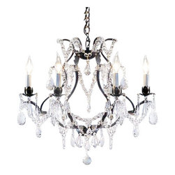"The Gallery - Wrought Iron Crystal chandelier - 100% crystal chandelier. A great European tradition. Nothing is quite as elegant as the fine crystal chandeliers that gave sparkle to brilliant evenings at palaces and manor houses across Europe. This one-tier version from the Majesty Collection has 6 lights and is decorated and draped with 100% crystal that captures and reflects the light of the candle bulbs, each resting in a beautiful floral bob ache. The timeless elegance of this chandelier is sure to lend a special atmosphere anywhere its placed! Please note this item requires assembly. This item comes with 18 inches of chain. Size: H. 19"" x W. 20"""