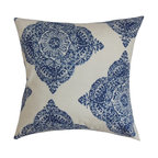 "The Pillow Collection - Daganya Damask Pillow Indigo 18"" x 18"" - This damask throw pillow makes a bold statement with its cool blue and white color combination. A fluffy and chic accent pillow like this deserves to take the spotlight in your home. Place this square pillow in strategic location to make your home more fashionable. Combine it with other patterns from our collection to for an awe-inspiring decor style. Made from 100% plush cotton material. Hidden zipper closure for easy cover removal.  Knife edge finish on all four sides.  Reversible pillow with the same fabric on the back side.  Spot cleaning suggested."