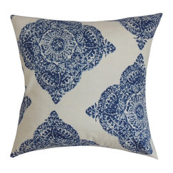 """The Pillow Collection - Daganya Damask Pillow Indigo 18"""" x 18"""" - This damask throw pillow makes a bold statement with its cool blue and white color combination. A fluffy and chic accent pillow like this deserves to take the spotlight in your home. Place this square pillow in strategic location to make your home more fashionable. Combine it with other patterns from our collection to for an awe-inspiring decor style. Made from 100% plush cotton material. Hidden zipper closure for easy cover removal.  Knife edge finish on all four sides.  Reversible pillow with the same fabric on the back side.  Spot cleaning suggested."""