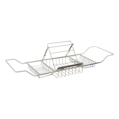 Taymor - Bathtub Caddy with Reading Rack, Chrome - Relaxation at home in your own bathroom! Pick up a book and enjoy utilizing the Taymor Bathrub Caddy with Reading Rack while bathing.