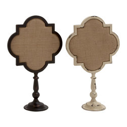 Metal Wood Note Holders, Set of 2 - Description: