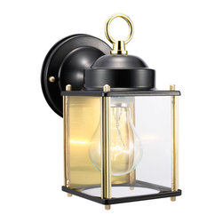 DHI-Corp - Coach Outdoor Downlight, 4.5-Inch by 8-Inch, Black and Polished Brass - The Design House 502658 Coach Outdoor Downlight greets your guests at the door with a soft, inviting glow. Black and polished brass finish and clear glass combine to create a sleek design on a smaller scale for the cost conscious. Minimal details and a box shape give your home great curb appeal. Illuminate a front porch or back deck with this fixture's classic design and bright finish. Measuring 4.5-inches by 8-inches, this lamp matches brick, stone, wood paneling or aluminum siding. This light features a 60-watt medium base incandescent lamp and is rated for 120-volts. UL listed and UL approved for wet areas, this downlight stays bright in harsh weather conditions. The Design House 502658 Coach Outdoor Downlight comes with a 10-year limited warranty that protects against defects in materials and workmanship. Design House offers products in multiple home decor categories including lighting, ceiling fans, hardware and plumbing products. With years of hands-on experience, Design House understands every aspect of the home decor industry, and devotes itself to providing quality products across the home decor spectrum. Providing value to their customers, Design House uses industry leading merchandising solutions and innovative programs. Design House is committed to providing high quality products for your home improvement projects.
