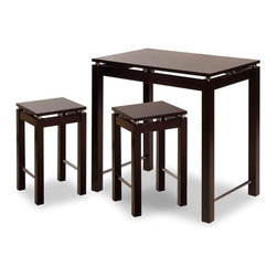 "Winsome - Linea 3 Piece Dining Set - Basic Features: -Functional kitchen island set.-Crafted from beech wood and metal.-Versatile design suitable for any kitchen space.-Matching stools complete the look.-Complete set features 1 kitchen island and 2 stools.-Finished in espresso.-Kitchen island features chrome accents.-Collection: Linea.-Top Finish: Espresso.-Base Finish: Espresso.-Chair Finish: Espresso.-Hardware Finish: Metal.-Distressed: No.-Powder Coated Finish: No.-Gloss Finish: No.-Top Material: Solid and composite wood.-Base Material: Solid and composite wood.-Chair Material: Solid and composite wood.-Solid Wood Construction: No.-Reclaimed Wood: No.-Number of Items Included: 3.-Hardware Material: Metal.-Non-Toxic: Yes.-Scratch Resistant: No.-Rust Resistant: No.-Leaf Included: No.-Seating Capacity: 4.-Wine Storage: No.-Shelving: No.-Drawers: No.-Corner Block: No.-Stemware Holder: No.-Upholstered Side Chair: No.-Upholstered Arm Chair: No.-Upholstered Bench: No.-Cushioned Chair Seats: No.-Chair Casters: No.-Lighted: No.-Outdoor Use: No.-Weight Capacity: 200 lbs.-Swatch Available: No.-Commercial Use: No.-Recycled Content: No.-Eco-Friendly: No.Specifications: -ISTA 3A Certified: No.-General Conformity Certified: Yes.Dimensions: -Table: -Overall Table Height - Top to Bottom: 34"".-Overall Table Width - Side to Side: 35.5"".-Overall Table Depth - Front to Back: 23.5"".-Overall Table Weight: 40 lbs..-Side Chair: -Overall Side Chair Height - Top to Bottom: 22.87"".-Overall Side Chair Width - Side to Side: 13.77"".-Overall Side Chair Depth - Front to Back: 13.77""..Assembly: -Assembly Required: Yes.-Additional Parts Required: No.Warranty: -Product Warranty: Replacement parts within 60 days from date of purchase."