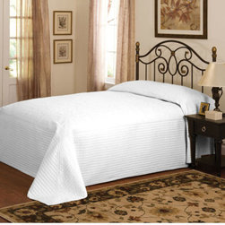 Pem America - American Traditions French Tile White Microfiber Twin Bedspread White - - French Tile White is a classic solid color bedspread with detailed machine stitching. Twin bedspread measures 110 x 80 inches  - Finish/Color: Multi-Color  - Product Width: 110  - Product Depth: 80  - Product Height: 80  - Fill Material: 100% microfiber polyester face  Fill is 95% cotton / 5% other fibers  - Laundering Information: Machine wash cold, gentle cycle Pem America - BQ7168WTTW-4400