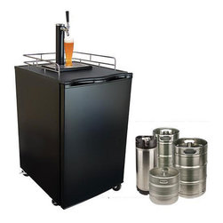 Kingston - KeggerMeister Beer Refrigerator/ Keg Dispenser - Entertain in style with this elegant beer keg dispenser. The dispenser keeps the beer from going flat for three months. Most mugs and beer glasses will fit under the tap,and casters allow you to easily wheel the dispenser into position at any venue.