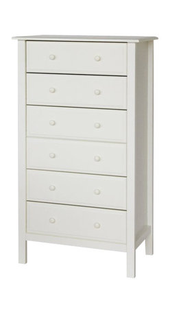 Da Vinci - DaVinci Jayden 6 Drawer Tall Dresser in White - Da Vinci - Baby Dressers - M5928W - Part of the Roxanne collection this tall 6 drawer dresser has valuable storage space needed for any nursery. Features metal glide hardware for smooth opening and closing of drawers.Features: