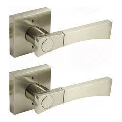 Enchante Accessories Inc - Non Turning Lever Door Handle Set, Satin Nickel Finish - Non-Turning lever lockset for single door and double door closets