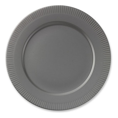 Eclectique Dinner Plates, Steel Gray, Set of 4 - I love the utilitarian design of this handsome gray plate. It would be beautiful paired with dishes in a more ornate and feminine pattern.