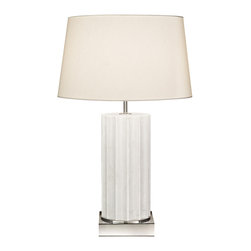 Fine Art Lamps - White Marble Nickel Base Table Lamp, 826210ST - Some things never go out of style. Take, for instance, this elegant table lamp, fashioned from a column of fluted white marble. It's topped with a cream-colored shade crafted from laminated fabric, and features a three-way bulb for maximum lighting efficiency. It's available in either an antiqued brass or polished nickel finish.
