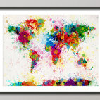 Paint Splashes Map Of The World Map By Art Pause - A paint splash map of the world — how fun!