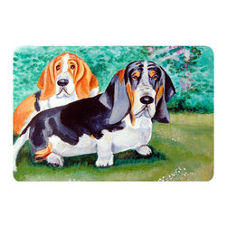 Caroline's Treasures - Basset Hound Double Trouble Kitchen Or Bath Mat 20X30 - Kitchen or Bath COMFORT FLOOR MAT This mat is 20 inch by 30 inch.  Comfort Mat / Carpet / Rug that is Made and Printed in the USA. A foam cushion is attached to the bottom of the mat for comfort when standing. The mat has been permenantly dyed for moderate traffic. Durable and fade resistant. The back of the mat is rubber backed to keep the mat from slipping on a smooth floor. Use pressure and water from garden hose or power washer to clean the mat.  Vacuuming only with the hard wood floor setting, as to not pull up the knap of the felt.   Avoid soap or cleaner that produces suds when cleaning.  It will be difficult to get the suds out of the mat.
