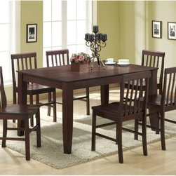 """Home Loft Concept - Ashlyn 7 Piece Dining Set - Features: -7 Piece dining set.-Set includes table and six chairs.-Table top includes beveled edge.-Solid wood construction.-Espresso finish.-Distressed: No.-Top Finish: Espresso.-Base Finish: Espresso.-Chair Finish: Espresso.-Hardware Finish: Metal.-Powder Coated Finish: No.-Gloss Finish: No.-Top Material: Solid wood veneer.-Base Material: Solid wood.-Chair Material: Solid wood.-Solid Wood Construction: Yes.-Reclaimed Wood: No.-Number of Items Included: Table and 6 chairs.-Hardware Material: Metal.-Scratch Resistant: No.-Rust Resistant: No.-Leaf Included: No.-Seating Capacity: 6.-Wine Storage: No.-Shelving: No.-Drawers: No.-Chair Casters: No.-Lighted: No.-Outdoor Use: No.-Weight Capacity: 250 lbs.-Swatch Available: No.-Commercial Use: No.-Recycled Content: No.-Product Care: Wipe with dry / wet cloth.Specifications: -ISTA 3A Certified: Yes.Dimensions: -Table: -Overall Table Height - Top to Bottom: 32"""".-Overall Table Width - Side to Side: 60"""".-Overall Table Depth - Front to Back: 40"""".-Overall Table Weight: 115 lbs..-Side Chair: -Overall Side Chair Height - Top to Bottom: 37"""".-Overall Side Chair Width - Side to Side: 18"""".-Overall Side Chair Depth - Front to Back: 18"""".-Side Chair Seat Height: 18"""".-Overall Side Chair Weight: 20 lbs..-Arm Chair: No.Assembly: -Assembly Required: Yes.-Tools Needed: Tools provided.-Additional Parts Required: No.Warranty: -Product Warranty: 30 day defect."""
