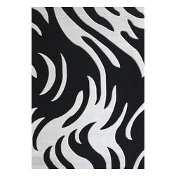 Rug - Zebra Style Living Room Area Rug, Black and Grey, Machine Made, 5'x 8' - Living Room Hand-tufted Shaggy Area Rug
