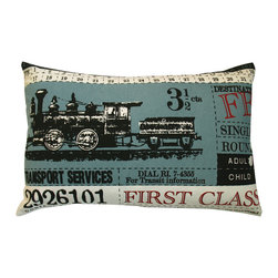 """KOKO - Ticket Pillow, First Class, Blue, 13"""" x 20"""" - Can you hear that train chugging away? This vintage image is a classic, and just imagine how exciting it must have been to travel by train back in the day. This would be a great gift for a history lover or a train buff."""