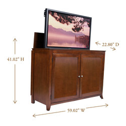 "Berkeley TV Lift Cabinet For Flat Screen TV's Up To 55"" - The Berkeley is constructed with clean and simple design features in mind and finished in a rich medium cherry wood. The Berkeley turns heads and makes any living room, entertainment area, den or man cave really stand out."