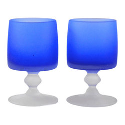 Adonis Collection | Vintage opaque blue wine glasses - Pair of vintage wine glasses. Mix and match your barware and buy one or more pairs of these delightful vintage pieces.  Opaque blue and satin white glass.  Heavy and solid to the touch.