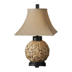 Uttermost - Calameae Rattan Lamp - Lighten up a little in your decor. A touch of rattan brings a natural, casual quality to an otherwise traditional room, and this lamp, with its round body and pagoda shade, makes a uniquely charming accent.