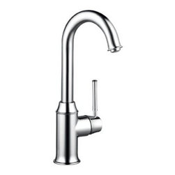 "Hansgrohe - Hansgrohe 04217000 Chrome Talis C Talis C Bar Faucet Single Hande - Product Features:  All-brass faucet body and handle construction Fully covered under Hansgrohe s limited lifetime warranty Hansgrohe faucets are designed and engineered in Germany Superior finishing process - finishes will resist corrosion and tarnishing through everyday use Hansgrohe kitchen faucets offer the user a lifetime of luxurious operation Spout swivels 360-degrees providing greater access to more areas of the sink Spout design provides optimal room under the faucet for any size task M2 ceramic cartridge for a lifetime of smooth operation ADA compliant - complies with the standards set forth by the Americans with Disabilities Act for kitchen faucets Low lead compliant - meeting federal and state regulations for lead content  Product Specifications:  Overall Height: 14"" (measured from counter top to highest part of faucet) Spout Height: 10-7/8"" (measured from counter top to spout outlet) Spout Reach: 5-1/2"" (measured from center of faucet base to center of spout outlet) Number of Holes Required for Installation: 1 Flow Rate: 1.5 GPM (gallons-per-minute) Maximum Deck Thickness: 2-1/2"" 1 handles included with faucet Designed for use with standard U.S. plumbing connections All hardware needed for mounting is included with faucet  Product Technologies and Benefits:  QuickClean: Calcareous water, dirt, cleaning agents; faucets and showers have to be able to withstand a lot. QuickClean technology gives you the power to make residues disappear in an instant. With the silicon nozzles Hansgrohe has fitted to its faucet aerators and shower jets, dirt and lime scale can be rubbed off with ease. This innovation adds infinite value, as prod"