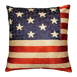 """Modern Silk - American Flag Pillow Cover Silk Hand Embroidered 18"""" x 18"""" - Expertly handcrafted chain-stitch embroidery with a design inspired by the works of Wassily Kandinsky. The abstract qualities of this piece, as well as the juxtaposition of primary colors and pastels of this decorative cushion cover, create a vibrant point of interest for your décor.The entire cotton base of the pillow is overlaid with soft wool, stitch by stitch, creating an extraordinary show piece for your decor. This is world-class workmanship created to enhance your world with dynamic color and motif."""