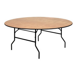 "Flash Furniture - 72"" Round Wood Folding Banquet Table with Clear Coated Finished Top - This wood folding table is very useful since it can be instantly stored and is easy to carry at the same time. This durable table was built for constant use in hotels, banquet rooms, training rooms and seminar settings. Not only is this table durable enough for the everyday rigors of commercial use this table can be used in the home when it comes to setting up your own personal party plans."