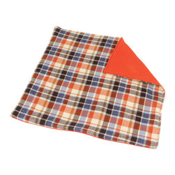 abbey's house - Orange and blue plaid security blanket - This security blanket is the perfect size for your little one to carry with them everywhere. It has a blue, orange, and brown plaid print on the front and a soft, cozy flannel on the back that you can't resist cuddling up with. It's so soft, just like your favorite flannel shirt! It's perfect for baby to toddler to take on the go.