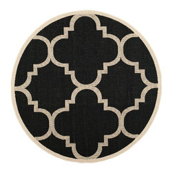 "Safavieh - Contemporary Courtyard Round 5'3"" Round Black-Beige Area Rug - The Courtyard area rug Collection offers an affordable assortment of Contemporary stylings. Courtyard features a blend of natural Black-Beige color. Machine Made of Polypropylene the Courtyard Collection is an intriguing compliment to any decor."