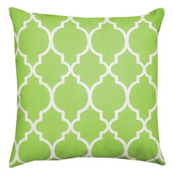 Pair of Pastel Green and White Marrakesh Print Indoor / Outdoor Throw Pillows - This pair of 18 inch by 18 inch woven throw pillows adds a wonderful nautical accent to your home or patio. The pillows have ClimaWeave weatherproof exteriors, that resist both moisture and fading. The pillows feature the same pastel green and white honeycomb print on both front and back. They have 100% polyester stuffing. These pillows are crafted with pride in the Blue Ridge Mountains of North Carolina, and add a quality accent to your home.