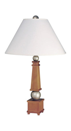 Lite Source - Wood Table Lamp - Honey Wood/Silver/White Fabric Shade - Wood Table Lamp - Honey Wood/Silver/White Fabric Shade