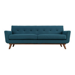 Bobby Berk Home - Vickie Sofa, Azure - Our Vickie Sofa has gorgeous mid-century lines with modern comfort. Choose from 6 sexy colors that will fit any color pallet.  Seven tufted buttons create eye catching appeal; adding depth that brings Vickie to center stage. Four cherry color rubber wood legs and frame supply a solid base to the comfortable upholstered material.