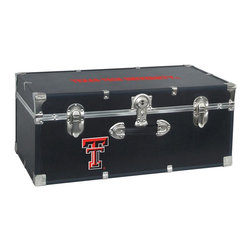 Seward Trunk - Texas Tech University Storage Trunk - Officially licensed. Front center key lock. One handle on the front. Paper lined to help protect interior contents. Screen printed logo. Heavy gauge vinyl. Nickel hardware and trim. Made from wood. Black finish. Made in USA. 30 in. L x 15.75 in. W x 12.25 in. H (18 lbs.)Storage you can show off!!!