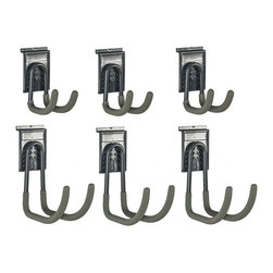 GlideRite - GlideRite Slatwall J-Hooks (Set of 6) - Increase the organization of your slatwall panels with these GlideRite slatwall add-on J-hooks. These hooks are made of durable powder-coated steel.