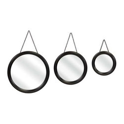 Round Hanging Mirrors - Set of 3 - These round hanging mirrors are a great addition for a small entry or bathroom.
